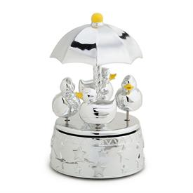 "-,DUCKIE CAROUSEL MUSIC BOX. 7.75"". SILVERPLATE. PLAYS 'SINGIN' IN THE RAIN'"