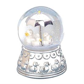"-,DUCKY WATERGLOBE. 4.75"". SILVERPLATE. PLAYS 'YOU ARE MY SUNSHINE'"