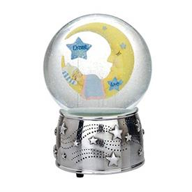 "-,MOON WATERGLOBE. 6.75"". SILVERPLATE. PLAYS 'TWINKLE, TWINKLE LITTLE STAR'"