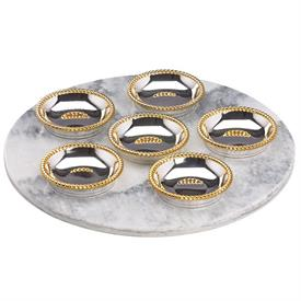 """-12"""" MARBLE SEDER PLATE WITH SIX 3.5"""" DISHES"""