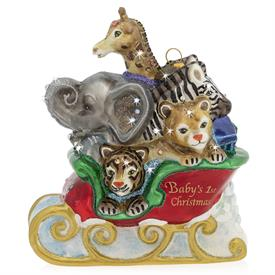 "-BABY'S 1ST CHRISTMAS ANIMALS IN SLEIGH GLASS ORNAMENT. 5"" WIDE, 3.5"" DEEP, 6"" TALL"