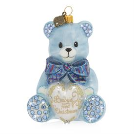 "-BLUE BABY'S 1ST CHRISTMAS TEDDY BEAR GLASS ORNAMENT. 3.2"" WIDE, 2.5"" DEEP, 2.75"" TALL"