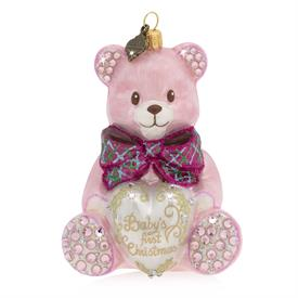 "-PINK BABY'S 1ST CHRISTMAS TEDDY BEAR GLASS ORNAMENT. 3.5"" WIDE, 2.5"" DEEP, 2.75"" TALL"