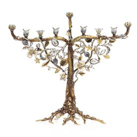 "-SOLOMON FLORAL & VINE MENORAH IN PLATINUM. 14"" WIDE, 5.5"" DEEP, 13"" WIDE"