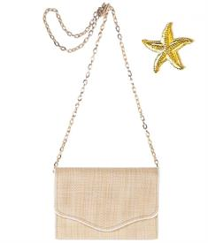 """-,SADIE CLUTCH IN STRAW & WHITE WITH SMALL STARFISH. 8"""" ACROSS, 5.5"""" HIGH, 2.5"""" DEEP WITH OPTIONAL 54"""" CHAIN"""