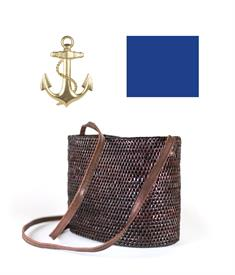 """-,CHOCOLATE CHARLOTTE CROSSBODY BAG WITH MARINA BLUE RIBBON & GOLD ANCHOR. 7"""" WIDE, 5"""" TALL, 4"""" DEEP WITH 48"""" STRAP"""