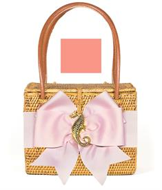 """-,EMORY BAG WITH CORAL BOW & GOLD SEAHORSE. 7"""" WIDE, 5.5"""" TALL, 4"""" DEEP"""