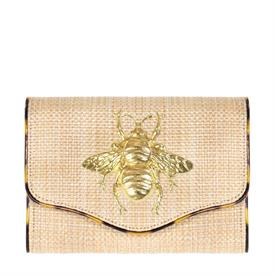 """-,SADIE CLUTCH IN STRAW AND TORTOISE SHELL WITH BEE CHARM. 8"""" WIDE, 5.5"""" TALL, 2.5"""" DEEP. 54"""" CHAIN STRAP."""