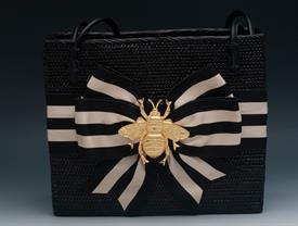 "-SAVANNAH BAG IN BLACK WITH CREAM & BLACK FLUFFY BOW & BEE CHARM. 11"" WIDE, 9"" TALL, 5"" DEEP. FAUK LEATHER SHOULDER STRAPS."