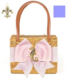 "-,EMORY BAG IN STRAW WITH IRIS COLORED BOW AND FLEUR DE LIS CHARM. 7"" WIDE, 5.5"" TALL, 4"" DEEP. DOUBLE SHOULDER STRAPS"