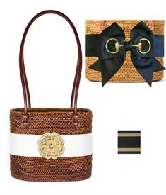 "-,MEDIUM CHARLOTTE BAG IN CHOCOLATE WITH BLACK & GOLD STRIPE BOW & GOLD SNAFFLE CHARM. 9"" WIDE, 7.5"" TALL, 5.5"" DEEP, 25"" LEATHER STRAPS"