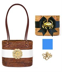 "-,MEDIUM CHARLOTTE BAG IN CHOCOLATE WITH CAPRI BLUE BOW & GOLD OCTOPUS CHARM. 9"" WIDE, 7.5"" TALL, 5.5"" DEEP, 25"" LEATHER HANDLES"
