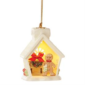 """-LIGHT-UP GINGERBREAD HOUSE ORNAMENT. BATTERIES INCLUDED. 4.25"""" TALL. MSRP $60.00"""