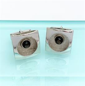 """,1950'S STERLING SILVER & BLUE TIGER'S EYE (HAWK'S EYE"""" CUFFLINKS. .75"""" WIDE. COMBINDED WEIGHT OF .42 OZT"""