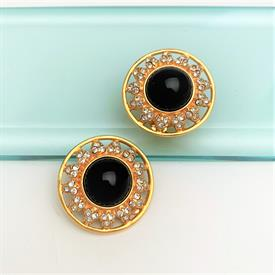 ",VINTAGE FENDI CLIP-ON EARRINGS WITH BLACK GLASS CABOCHONS & CLEAR CRYSTALS. 1.25"" WIDE"