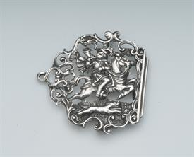 """TRUMPETER HORSE RIDER UNMARKED STERLING SILVER BELT BUCKLE WEIGHS 1 TROY OUNCE 2.5"""" WIDE - WELL MADE PIECE"""