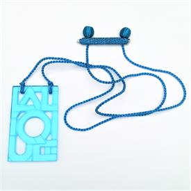 ",TURQUOISE 'ART DECO FONT' LETTER PENDANT NECKLACE ON SILK ROPE. PENADANT MEASURES 2.25"" LONG, 1.45"" WIDE. ROPE MEASURES 26"""