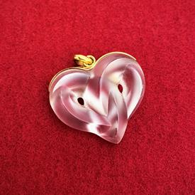 ",CLEAR 'ENTWINED HEART' PENDANT WITH GOLD TOP. 1.1"" WIDE, 1.3"" LONG"