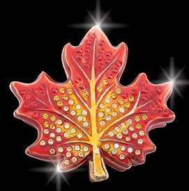 "-,RED $MAPLE LEAF ""MONTREAL"" KEEPSAKE BOX 2.8"" X 2.75"" X .75"" DEPTH BY ARTIST GREG ARBUTINE ENAMELED IN A GRADIENT YELLOW TO RED 113 CRYSTAL"