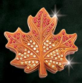 "-,ORANGE $MAPLE LEAF ""QUEBEC"" KEEPSAKE BOX BY ARTIST GREG ARBUTINE 2.8"" X 2.75"" X .75 DEPTH ENAMELED IN SOLID ORANGE WITH 113 AUSTRIAN CRYST"