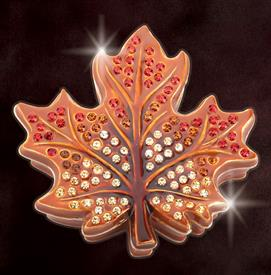 "_,BROWN $MAPLE LEAF ""TORONTO"" KEEPSAKE BOX MADE BY ARTIST GREG ARBUTINE 2.8"" X 2.75 X .75""DEPTH ENAMELED IN A GRADIENT OF BROWN HUES 113 STO"