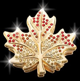 "-,GOLD $MAPLE LEAF ""OTTAWA"" BEJEWELED KEEPSAKE BOX BY ARTIST GREG ARBUTINE 2.8""X2.75""X.75"" ENAMELED IN GOLD WITH 113 AUSTRIAN CRYSTALS"