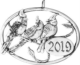 """-,Annual cardinal ornament, year 2019 2"""" x 1.5"""" Sterling Silver made by Hand & Hammer"""