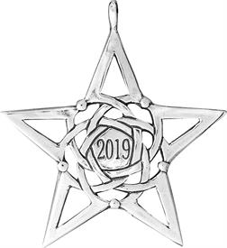 "_,Annual Star Ornament 2"" Year 2019 sterling silver made by Hand & Hammer"