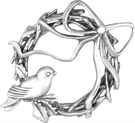 -,Bird and Wreath Sterling Ornament made by Hand & Hammer 2.25""