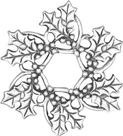 "-,Holly Wreath 2.25"" sterling ornament made by Hand & Hammer"