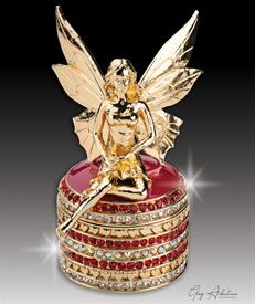 "-,$ Burgundy Tooth Fairy ""Catherine"" Bejeweled Box made of Metal weighing 208grams, enameling, 234 Austrian grade A crystals 3.5""x"