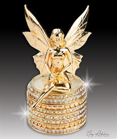 "-,$ Ivory Tooth Fairy ""Seraphina"" bejeweled box made of metal  with 234 Austrian grade A crystals weighs 208 grams 3.5"" tall"