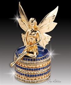 "-,$ Cobalt Blue Tooth Fairy ""Angelica"" Bejeweled Box made of metal enameled with 234 Austrian Grade A crystals 3.5"" tall x1.8""base"