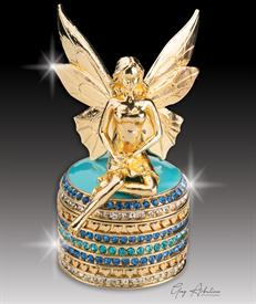 "-,$ Turquoise Tooth Fairy ""Grace"" Bejeweled Box made of metal and enameld. contains 234 Austrian grade A crystals 3.5"" tall x 1.8""base"