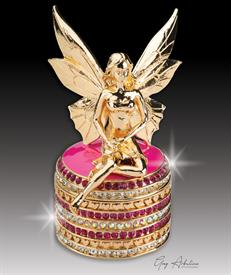 "-,$ Pink Tooth Fairy ""Ariel"" Bejeweled box made of metal & enameled & 234 Austrian Grade A crystals 3.5"" tal by 1.8"" diameter"