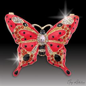 "-,$ Red Butterfly ""Patricia"" Bejeweled Box made of metal and enameled with 76 Austrian Grade A crystals 3""x2.5""x1"""