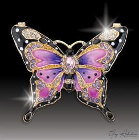 "-,$ Pink & Purple Butterfly ""Grace"" Bejeweled Box made of metal enameled with 76 Austrian Grade A crystals 3""x2.5""x1"""