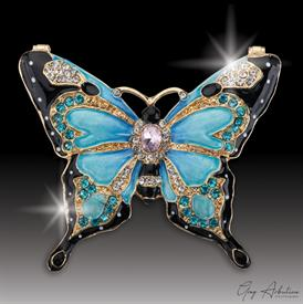 "-,$ Light Blue Butterfly ""Derek"" Bejweweled Box made of Metal enameled 76 Austrian Grade A crystals 3"" x 2.5"" x 1"""