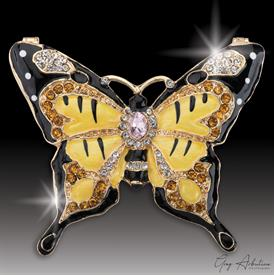"-,$ Yellow Butterfly ""Shereen"" Bejeweled Box made of Metal enameled with 76 Grade A Austrian Crystals 3"" x 2.5"" x 1"""