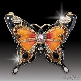 "-,$ Orange Butterfly ""Alan"" Bejeweled Box made of metal enameled with 76 Austrian Grade A Crystals 3"" x 2.5"" x 1"""