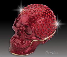 "_,$ Red Skull ""Gaspar"" Bejeweled & Enameled metal box by Artist Greg Arbutine,250 ""A"" grade Austrian Crystals, weighs 166 grams,2.7""x1.5"