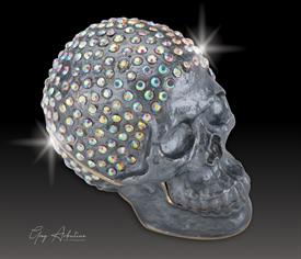 "-,$ Gun Metal Grey Skull ""Read"" Bejeweled metal box by Artist Greg Arbutine. 250 ""A""grade Austrian Crystals,166 grams,2.7""x1.5""x2"""