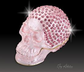 "_,$ Pink Skull ""Bonny"" Bejeweled metal box by Artist Greg Arbutine. 250 grade A Austrian Crystals, weighs 166grams 2.7""x1.5""x2"""
