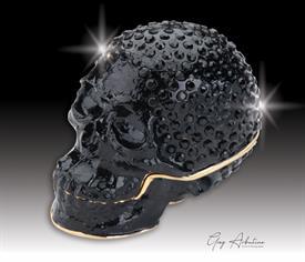 "-,$ Black Skull ""Jack"" Bejeweled Metal Box by Artist Greg Arbutine. 250 Grade A Austrian Crystals, weighs 166 grams 2.7""x1.5""x2"""