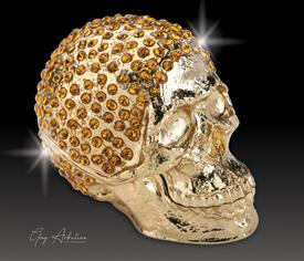 "-,$ Golden Skull ""Vane"" Bejeweled box made of metal Artist Greg Arbutine. 250 Austrian A grade crystals, weighs 166grams,2.7""x1.5""x2"""