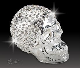 "-,$ Silver Skull ""Roberts"" Bejeweled Metal Box by Artist Greg Arbutine. 250 Austrian Grade A Crystals,weighs 166 grams,2.7""x1.5""x2"""