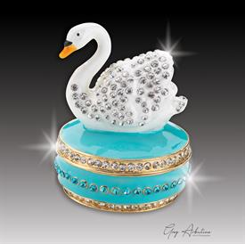 "-,turquoise $ Swan ""Diana""Enameled Bejweled Box made of metal by Artist Greg Arbutine, 156 grams, 274 Austrian A grade crystals,2"