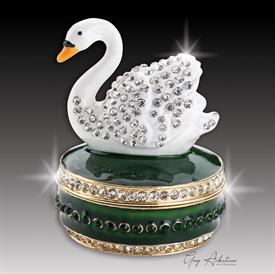 "-, emerald green $ Swan ""Christopher"" Enameled & bejeweled box by Artist Greg Arbutine, 156 grams, 274 Austrian A grade Crystals,2.7""H x 1.8"