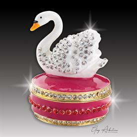 "-,burgundy$ Swan ""Ashley""  Enameled & Bejeweled box by Artist Greg Arbutine, 156grams, 274 Austrian Grade A crystals, 2.7""H by 1.8""W"