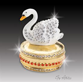 "_,gold$ Swan ""Kathy""  Enameled & Bejeweled Box by Artist Greg Arbutine, 156 grams, 274 Austrian Grade A crystals, 2.7""Hx 1.8"""